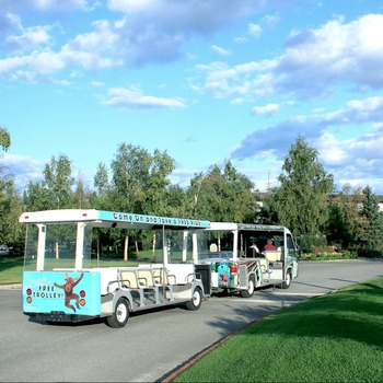 Ride the Wedgewood Resort tram.