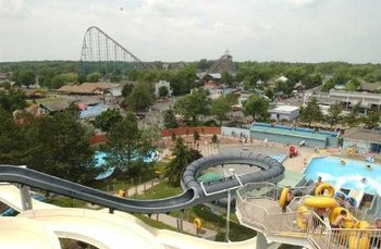 Aerial view of Darien Lake Resort.