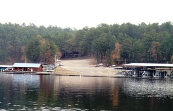 Lake Greeson landing near Diamonds Old West Cabins.