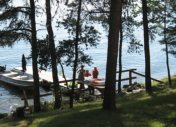 View of dock and lake at Little Norway Resort.